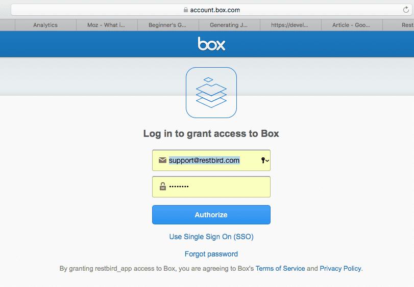 Box User login